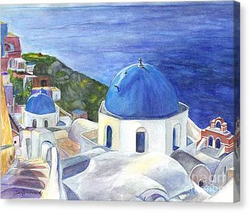 Isle Of Santorini Thiara  In Greece Canvas Print