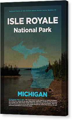 National Canvas Print - Isle Royale National Park In Michigan Travel Poster Series Of National Parks Number 32 by Design Turnpike