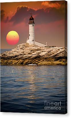 Isles Of Shoals Lighthouse At Sunset Canvas Print