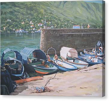 Isola Pescatori Fishing Boats Canvas Print by Connie Schaertl