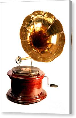 Isolated Antique Gramophone Canvas Print by Paul Cowan