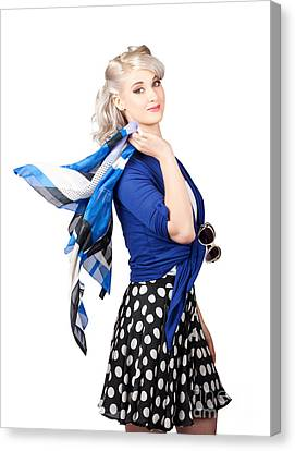 Isolated Caucasian Woman With Pinup Fashion Style Canvas Print by Jorgo Photography - Wall Art Gallery