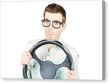 Isolated Man Driving Car On White Background Canvas Print by Jorgo Photography - Wall Art Gallery