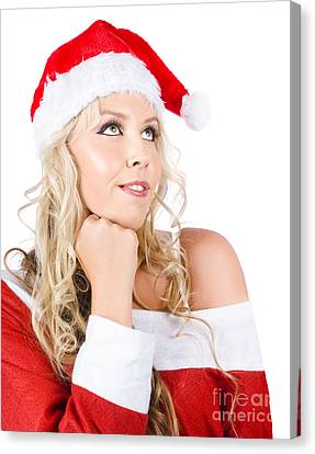 Isolated Santa Woman Thinking Up Blank Copyspace Canvas Print by Jorgo Photography - Wall Art Gallery