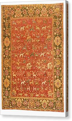 Ispahan Animal Rug From 16th Century Canvas Print by Vintage Design Pics