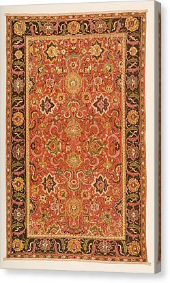Ispahan Rug From The 16th Century Canvas Print by Vintage Design Pics