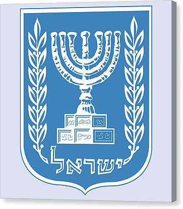 Canvas Print featuring the drawing Israel Coat Of Arms by Movie Poster Prints