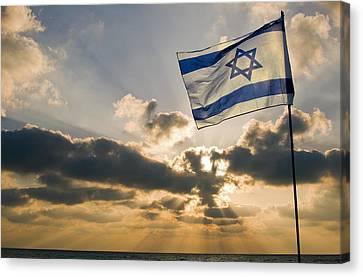 Israeli Flag And Sunset Canvas Print by Daniel Blatt