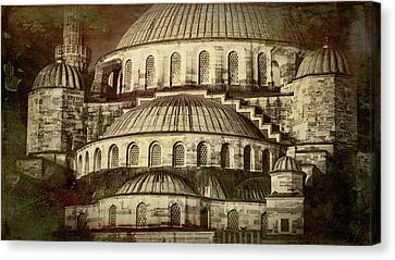Byzantine Canvas Print - Istanbul Blue Mosque - Antiqued Print by Stephen Stookey