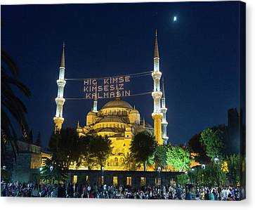Istanbul Blue Mosque At Ramadan Canvas Print by Stephen Stookey