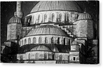 Istanbul Blue Mosque - Charcoal  Sketch Canvas Print by Stephen Stookey