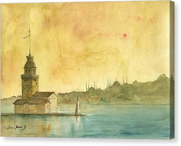 Istanbul Maiden Tower Canvas Print by Juan Bosco