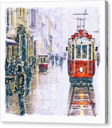 Istanbul Nostalgic Tramway Canvas Print by Marian Voicu