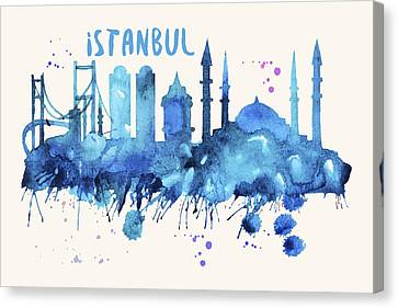 Istanbul Skyline Watercolor Poster - Cityscape Painting Artwork Canvas Print