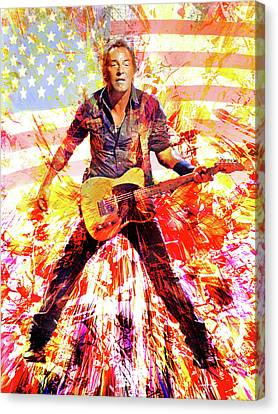 Bruce Springsteen Canvas Print - It Ain't No Sin To Be Glad You're Alive by Mal Bray