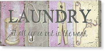 Textile Canvas Print - It All Comes Out In The Wash by Debbie DeWitt