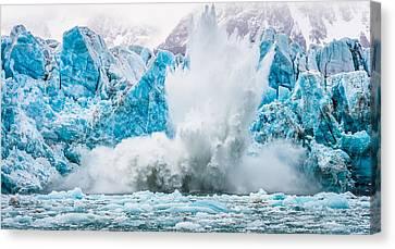 It Makes A Big Splash - Glacier Calving Photograph Canvas Print by Duane Miller