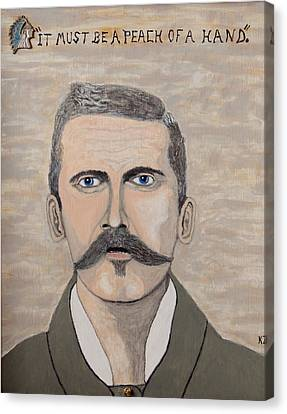 Canvas Print featuring the painting It Must Be A Peach Of A Hand. Doc Holliday. by Ken Zabel