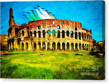 Italian Aerobatics Team Over The Colosseum Canvas Print by Stefano Senise