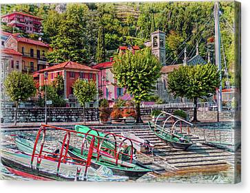 Italian Boat Dock Canvas Print by Hanny Heim