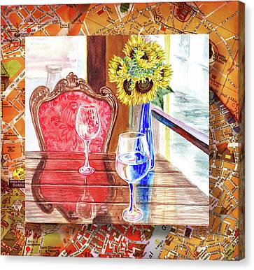 Canvas Print featuring the painting Italian Cafe  by Irina Sztukowski