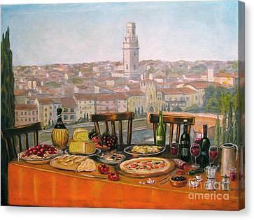 Italian Cityscape-verona Feast Canvas Print