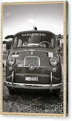 Police Officer Canvas Print - Fiat 600 Italian Classic Car by Stefano Senise