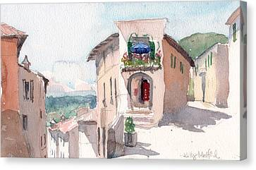 Italian Street Canvas Print - Italian Crossroads by Kelly Medford