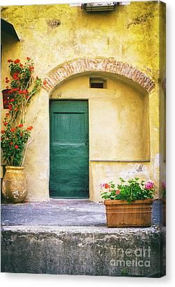 Italian Facade With Geraniums Canvas Print