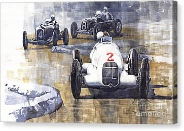 Italian Gp 1934 Mb W25 Alfa Romeo P3 Maserati Tipo 34 Canvas Print by Yuriy  Shevchuk