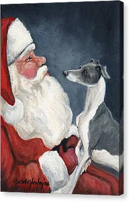 Italian Greyhound And Santa Canvas Print by Charlotte Yealey