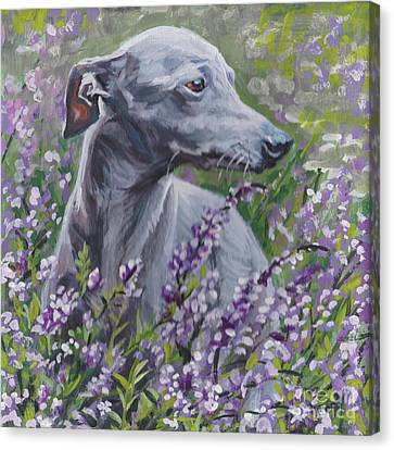 Canvas Print featuring the painting  Italian Greyhound In Flowers by Lee Ann Shepard