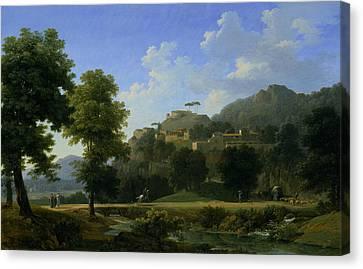 Italian Landscape Canvas Print by Jean-Victor Bertin