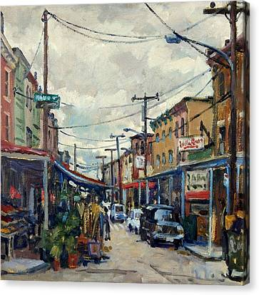 Italian Market Philadelphia Rainy Canvas Print by Thor Wickstrom