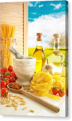 Italian Pasta In Country Kitchen Canvas Print