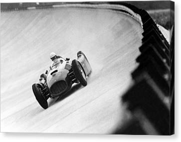 Italian Racing Driver Nino Farina Driving His Ferrari At Monza  Canvas Print by Italian School