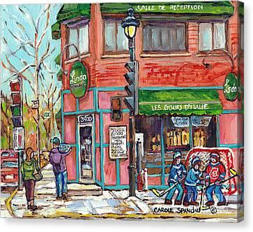 Italian Restaurant Linda Verdun Montreal Painting Winter City Scene Hockey Game Art Carole Spandau   Canvas Print by Carole Spandau