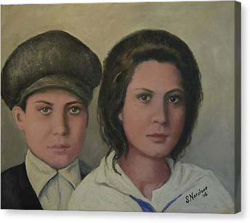 Italian Siblings On Ellis Island Canvas Print by Sandra Nardone