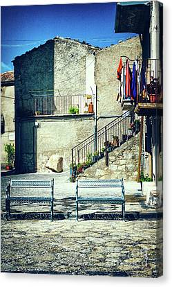 Italian Square With Benches Canvas Print