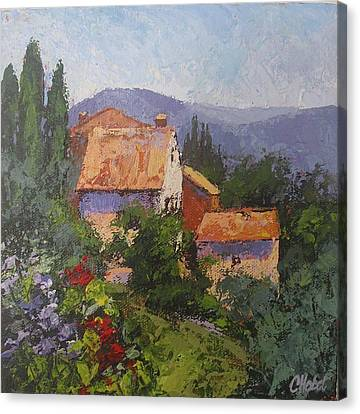 Canvas Print featuring the painting Italian Village by Chris Hobel