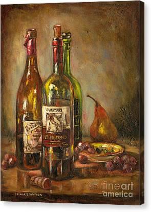 Italian Wine Bottles Canvas Print by Brenda Brannon