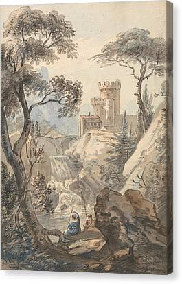 Italianate Landscape With Castle, Cascade And Anglers Canvas Print by Paul Sandby