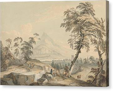 Italianate Landscape With Travelers, No. 1 Canvas Print by Paul Sandby
