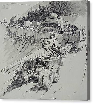 Canvas Print featuring the drawing Italy 1943. by Mike Jeffries