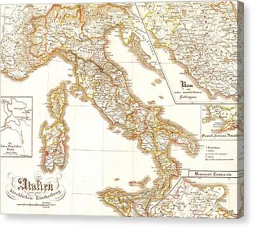 Italy Europe Vintage Country Map Canvas Print by ELITE IMAGE photography By Chad McDermott