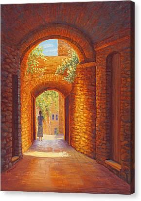 Italy Passages, San Gimignano, Tuscany Canvas Print by Elaine Farmer