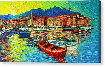 Italy Portofino Harbor Sunrise Modern Impressionist Palette Knife Oil Painting By Ana Maria Edulescu Canvas Print by Ana Maria Edulescu