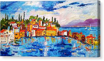 Italy Seaside Village Sestri Levante Canvas Print by Ginette Callaway