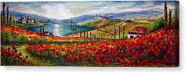 Italy Tuscan Poppies Canvas Print by Yvonne Ayoub