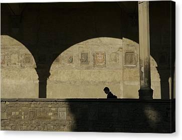 Italy, Tuscany, Florence, A Man Walks Canvas Print by Keenpress